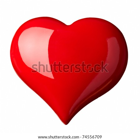 close up red heart shape symbol on white background with clipping path