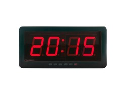 close up red led light illumination numbers 2015 on black digital electric alarm clock face isolated on white background, time symbol concept for celebrating the New Year