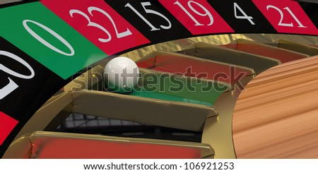 Close-up render of a roulette wheel with the ball landed on zero.