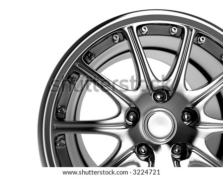 close up rendering part of chrome car rim (3d)
