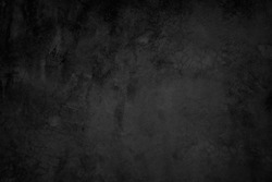 Close up retro plain dark black cement or concrete wall background texture for show or advertise or promote product and content on display and web design element concept decor.