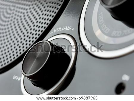 close up retro radio with low...
