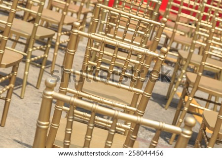 Close up Row of gold color chair