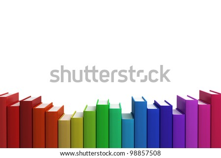 Close up row Stack of colorful books on white background, Front