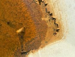 Close up, rust on steel oil tanks