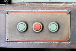 Close up Rustic control panel of old machine,grunge object.
