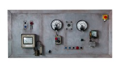 Close up rustic control panel of old machine, grunge object