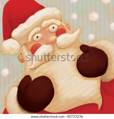 close up santa  (illustration or Christmas Card design)