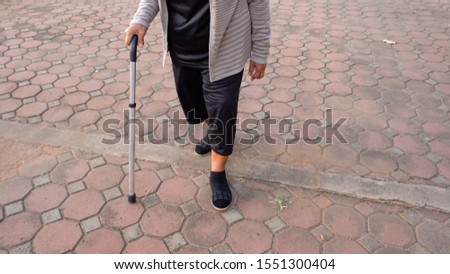 close up senior woman legs walking with walking stick in the park