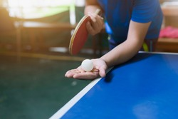 Close up service on table tennis.