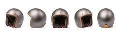 Close up set of new grey vintage helmet. Studio shot isolated on white background