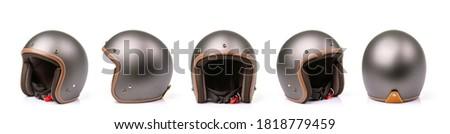 Close up set of new grey vintage helmet. Studio shot isolated on white background Сток-фото ©