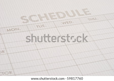 Close-up sheet schedule