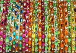 close up shining stones on bangles