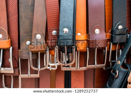 Close up shoot from some belts in a store. Store is located in hoi an in vietnam. Big leather culture in this town. High quality leather work for cheap prices.