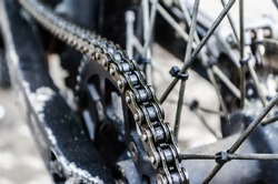 Close up shoot of a bike chain.