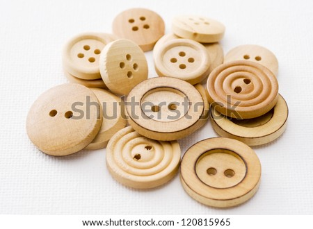 Close-up shoot of several wooden sewing buttons