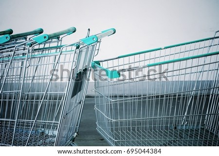 close up shopping cart at...