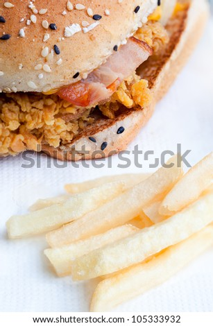 Close up shot for a Spicy Chicken Filet  hamburger on table