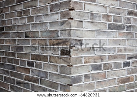 Close-up shot for the corner of gray brick wall.Gray brick ,also named blue brick,normally used in Chinese ancient architecture