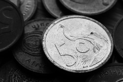 Close up shot of a 5 cent coin. South African money concept image.