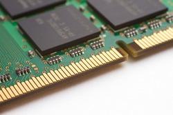 Close-up shot of a computer component (RAM)