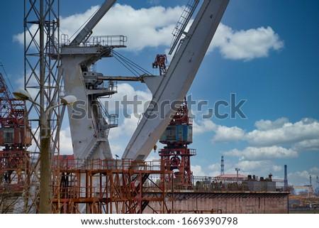 Close up shot of a crane at a harbour. Foto stock ©