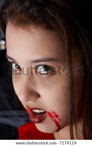 Close-up shot of a girl dressed in a halloween costume