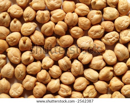 Close-up shot of a layer of dried chick peas (garbanzo beans).
