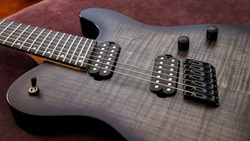 Close Up Shot Of A Modern Seven String Electric Guitar