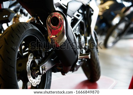 Close up shot of a motorcycle exhaust pipes Stock photo ©