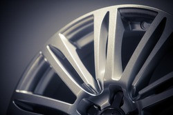 Close up shot of a new car rim.