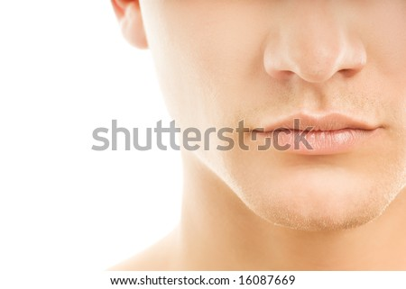 Close-up shot of a part of man's face. Isolated on white background