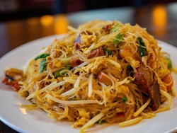 Close up shot of a plate of delicious Singapore curry noodles, ate at Las Vegas, Nevada