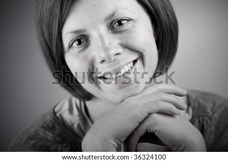 Close Up Shot of a Pretty Brunette Lady Smiling