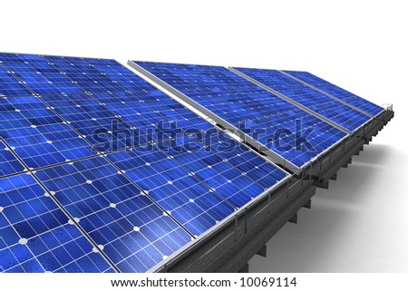 Close-up shot of a row of blue solar panels against a white background