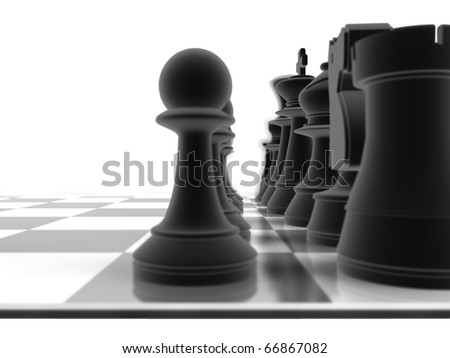 Close up shot of a set of black chess pieces, with a depth of field