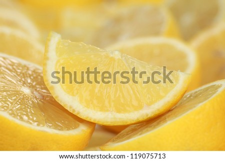 Close-up shot of a sliced lemon with copy-space