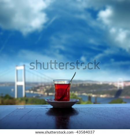 close up shot of a tea glass on the table - stock photo