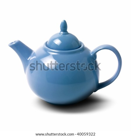 close up shot of a teapot on white background