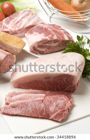 Close-up shot of a  variety of fresh meat on the table #34418896
