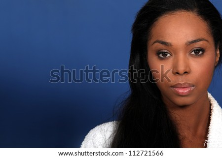 Close-up shot of African America woman - stock photo