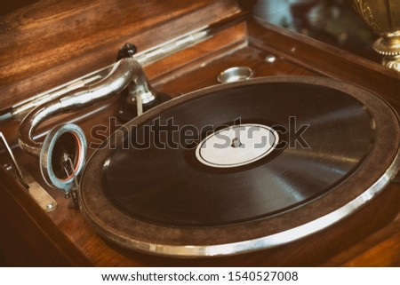 Close Up Shot Of An Old Vintage Record Player (Phonograph) Stock fotó ©