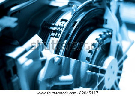 Close up shot of automotive engine components