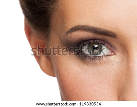 Close-up shot of beautiful female eye with bright fashion makeup