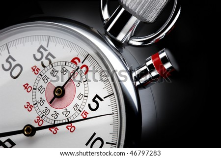 Close up shot of  beautiful stopwatch shot on black background with space for copy