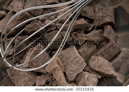 Close-up shot of blocks of chocolate with a silver whisk