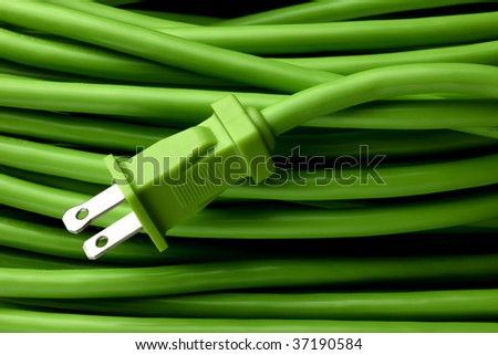Close up shot of bright green electric extension cord