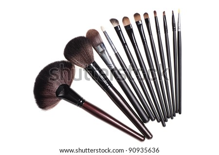 close up shot of brushes for make-up, isolated on white