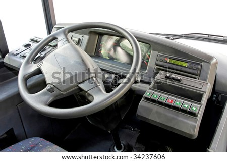 Close up shot of bus dash board - stock photo